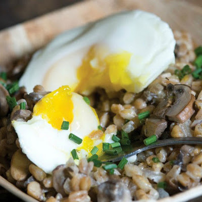 Ripe's Cremini Farro Hash with Poached Eggs