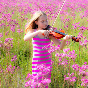 Music in the Wind by Pierre Vee - Babies & Children Child Portraits ( music, girl, colorful, pink, kids, color, colors, landscape, portrait, object, filter forge,  )