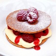 Pecan Shortbreads with Raspberries and Raspberry Puree