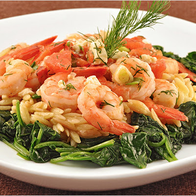 Sauteed Shrimp with Orzo, Feta and Dill