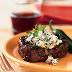 Grilled Steaks with Blue Cheese and Chiles