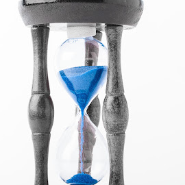 by Mihaela Iordan - Artistic Objects Glass ( time, blue, device, sandglass, hourglass, measuring time )