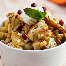 Cook the Book: Cumin Seed Roasted Cauliflower with Salted Yogurt, Mint, and Pomegranate Seeds
