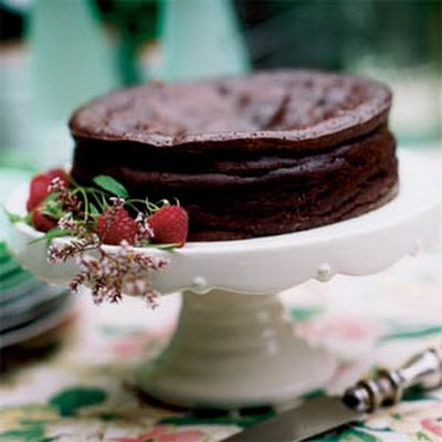 Chocolate-Espresso Torte with Raspberry Sauce