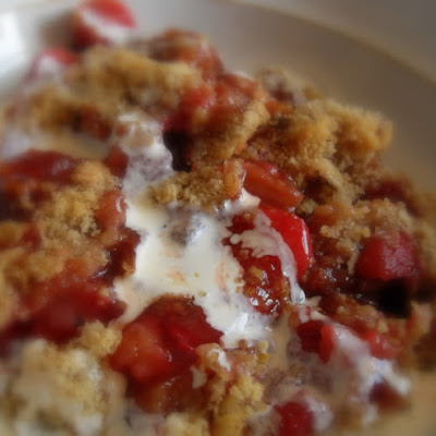 Strawberry, Rhubarb, Oat and Walnut Crumble