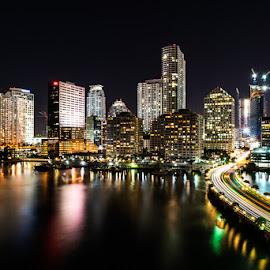 Miami Skyline by Jack Scicluna - City,  Street & Park  Skylines ( skyline, night photography, miami, city )