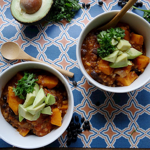 Sweet Potato, Black Bean & Bulgar Soup