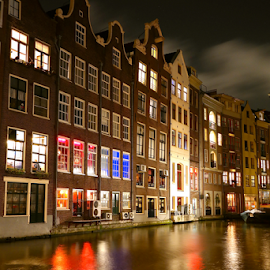 Amsterdam at Night by Ludwig Wagner - Buildings & Architecture Public & Historical
