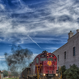 Hear That Train a-comin' by Michael Buffington - Transportation Trains ( building, sky, engine, railroad, train, rogers, arkansas )