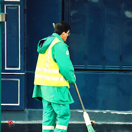 Paris Street Sweeper by Timothy Carney - City,  Street & Park  Street Scenes ( paris, broom, sweeper, sidewalk )