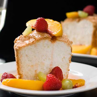 Gluten Free Angel Food Cake with Peach Sangria Sauce