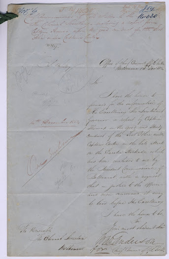 "The two attached letters in this item, dated 18 and 14 December 1854 respectively, eulogise the 'admirable steadiness' of the foot police in the attack on the Eureka Stockade, and note the capture of the Southern Cross flag.<a href=""http://wiki.prov.vic.gov.au/index.php/Eureka_Stockade:Capt._Thomas%27_report_-_Flag_captured"">Click here to see more of this record on our wiki</a>."