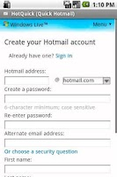 Screenshot of HotQuick (Quick Hotmail)