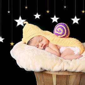 Sleepy Snail by Darya Enchanted Images - Babies & Children Babies ( dreaming, moon, stars, sleeping, baby, newborn )