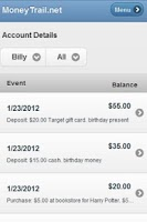 Screenshot of MoneyTrail Allowance Tracker