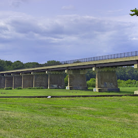 Williamsport2 by Dave Cowman - Landscapes Prairies, Meadows & Fields ( williamsport, maryland, c&o canal, bridge, potomac river )