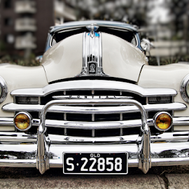 Chrome by Howard Ferrier - Transportation Automobiles ( silver streak, hdr, bumper bar, chrome, grille, 1948 pontiac )