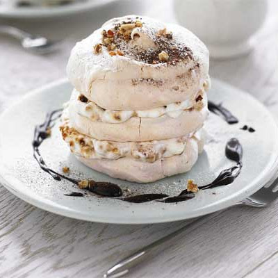 Hazelnut Meringues With Hazelnut Praline & Chocolate Sauce
