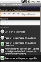 Screenshot of Picasa plug-in for twicca