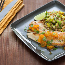 Kumquat-Lime Glazed Tilapia with Brussels Sprouts & Almond Freekeh