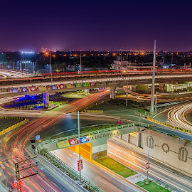 Kalma Chowk by Rana Saad - City,  Street & Park  Night ( lights, trail, night, city )