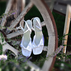 Bride Shoes by Dennis McClintock - Wedding Bride ( wedding day, bride shoes, bride, wedding shoes and wheel, wedding details )