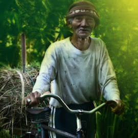 Old by Wira Dharma Asha - Novices Only Portraits & People ( bali, grass, worker, traditional, old man )
