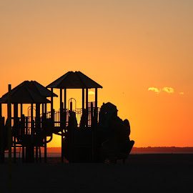 Playtime at Sunset  by Dale Carney - City,  Street & Park  Neighborhoods (  )