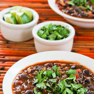 Slow Cooker (or Stovetop) Vegetarian Black Bean and Rice Soup with Lime and Cilantro