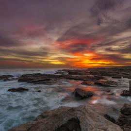 Glow by Clive Wright - Landscapes Sunsets & Sunrises ( sunset, sea, ocean, rock, seascape, landscape )