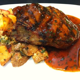 Grilled Pork Chop with Rosemary Teriyaki Butter Glaze, Fingerling Potatoes