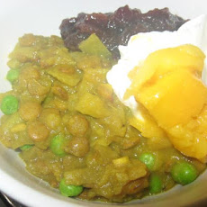 Lentil and Rhubarb Curry With Potatoes and Peas