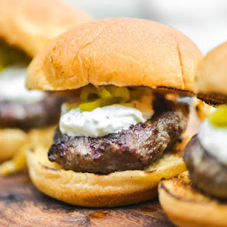 Mini Grilled Gyro Burgers With Tzatziki and Pickled Peperoncini
