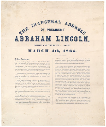 "Lincoln's remarkable <a href=""https://www.gilderlehrman.org/history-by-era/american-civil-war/resources/president-lincoln%E2%80%99s-second-inaugural-address-1865"">Second Inaugural Address</a> reflects on God's purposes in punishing the whole nation for the sin of slavery. It also called for reconciliation and charity toward the ravaged South."