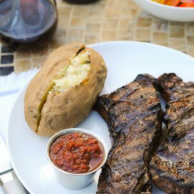 Strip Steaks with Cherry-Chipotle Sauce