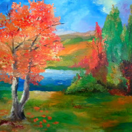Autumn colours by Livia Copaceanu - Painting All Painting ( bright, autumn, colors, landscape )