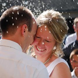 Rice Throwing by Carrie Schneider - Wedding Bride & Groom ( married, wedding, czech republic, bride, groom )