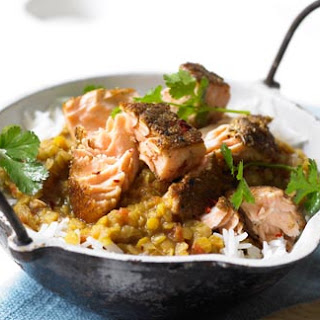 This Salmon with coriander dahl (a spiced lentil stew) and rice is a super easy way to spice up a midweek dinner – ready in 30 minutes!