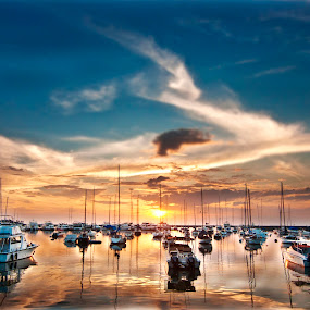 Yacht Club by Noel Angeles - Landscapes Sunsets & Sunrises