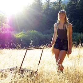 Living Lonely by Jordan M Newington - Novices Only Portraits & People ( senior portrait, seniors, grass, sunflare, classof2014,  )