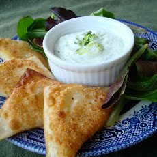 Pan-Fried Bacon, Scallion, Cheddar and Potato Wontons with Herb Dip