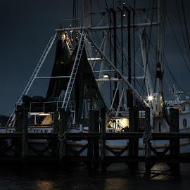 Night by Ron Maxie - Transportation Boats