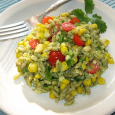 Roasted Corn & Orzo Salad With Cilantro Pesto
