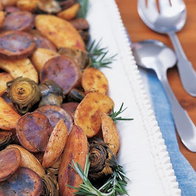 Roasted Artichokes, Fingerlings, and Purple Potatoes