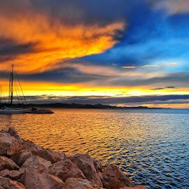 Final fantasy of the day  by Davor Strenja - Landscapes Waterscapes ( water, red, final fantasy, bibinje, blue, sunset, croatia, sea, dusk, sun )