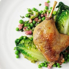 Slow-cooked Duck Leg With Peas, Lettuce, Bacon And Mint