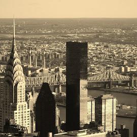 Vista by Lindsay Jones - City,  Street & Park  Vistas ( skyline, sepia, new york, chrysler building )