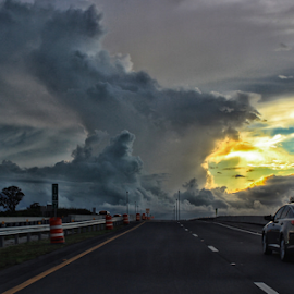 After the Storm  by Samy St Clair - Landscapes Cloud Formations ( car, clouds, sky, highway, sunset, travel, road, storm, landscape )