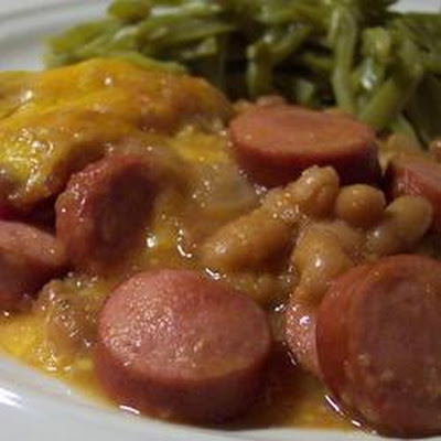 Beans and Franks Applesauce Bake