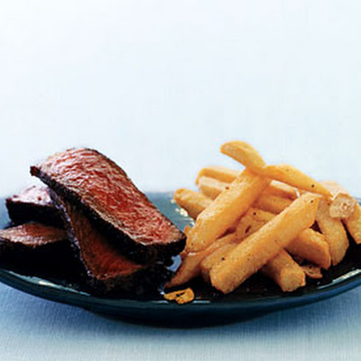 Spice-Rubbed Steak with Quick Garlic Fries